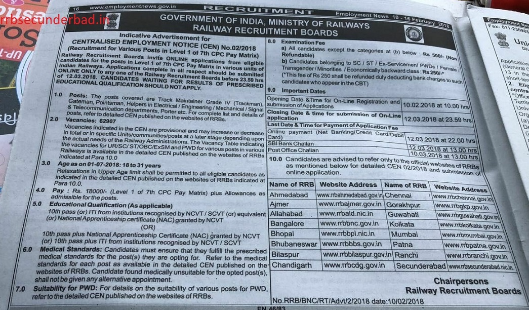RRB Secunderabad Group D Notification 2018 for 62907 Posts