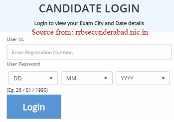 RRB Secunderabad Group D Application Status