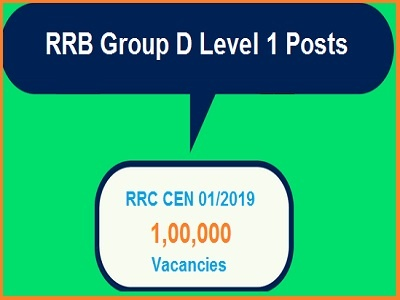RRB Secunderabad Group D Level 1 Posts 2019